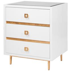 Bartok Hollywood Regency White Lacquer Gold Leaf Nightstand