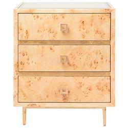 Bartok Mid Century Burl Wood Gold Leaf Nightstand