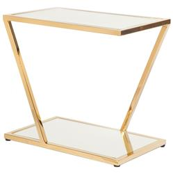 Lola Hollywood Regency Mirrored Top Brass Side Table