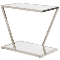 Lola Hollywood Regency Mirrored Top Nickel Side Table