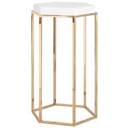 Lily Hollywood Regency Hexagonal White Lacquer Brass Side End Table