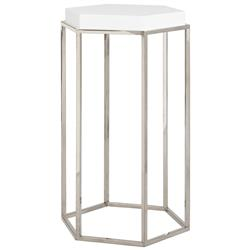 Lily Hollywood Regency Hexagonal White Lacquer Nickel Side End Table