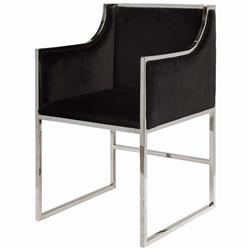 Anastasia Hollywood Regency Black Velvet Nickel Frame Dining Chair