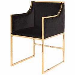Anastasia Hollywood Regency Black Velvet Brass Frame Dining Chair
