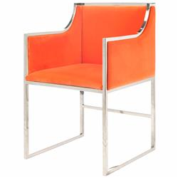 Anastasia Hollywood Regency Orange Velvet Nickel Frame Dining Chair