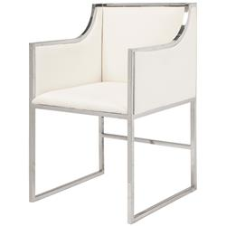 Anastasia Hollywood Regency White Linen Nickel Frame Dining Chair