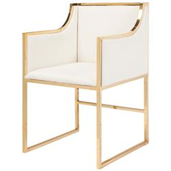 Anastasia Hollywood Regency White Linen Brass Frame Dining Chair