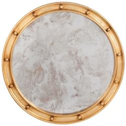 Jack Hollywood Regency Large Round Antique Gold Leaf Mirror - 36D