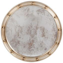 Jack Hollywood Regency Large Round Antique Silver Leaf Mirror - 36D