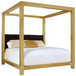 Astoria Hollywood Regency Brass Upholstered King Canopy Bed