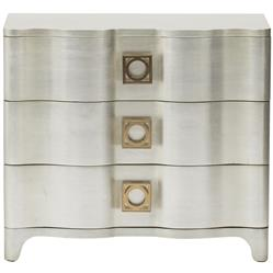Oriana Modern Classic Antique Silver Leaf 3 Drawer Nightstand