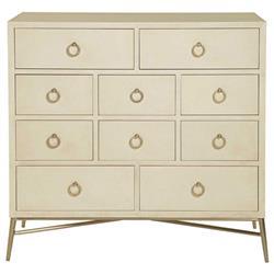 Oriana Modern Classic Ivory 10 Drawer Media Dresser Cabinet