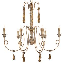 Matheo French Country Gold 6 Light Chandelier