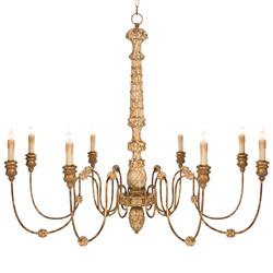 Kylian French Country Hand Carved Rustic Gold 8 Light Chandelier
