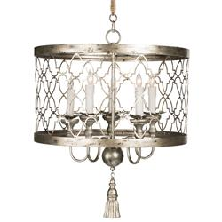 Ingrid Hollywood Regency Antique Silver 5 Light Chandelier