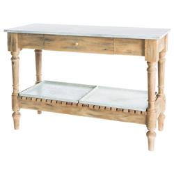 Manon French Country Natural Wood and Zinc Top Table | AG-F512