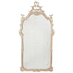 Aimee French Country Bleached Wood Antiqued Wall Mirror
