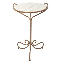 Alexa Hollywood Regency Rustic White Marble End Table