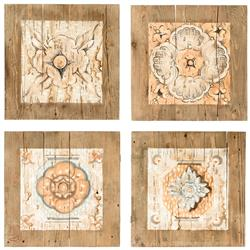 Lise French Country Painted Prints on Wood - Set of 4