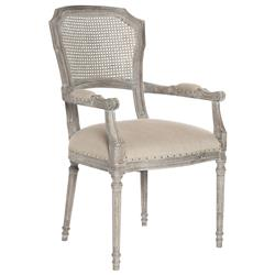 Capulet French Country Caned Back Oak Dining Arm Chair | Kathy Kuo Home