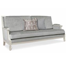 Maureen Hollywood Regency Grey Velvet Ivory Lacquer Wood Sofa
