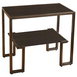 Morenci Industrial Loft Bronze Black Granite Side Table Nightstand