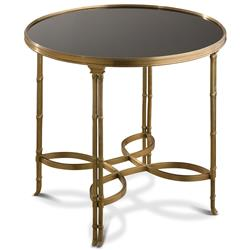 Kyoto Global Bazaar Brass Bamboo Black Granite Side End Table