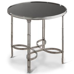 Kyoto Global Bazaar Nickel Bamboo Black Granite Side End Table
