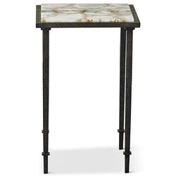 Vesuvio Modern Classic Agate Stone Iron Square Side End Table