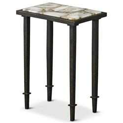 Vesuvio Modern Classic Agate Stone Iron Rectangle Side End Table