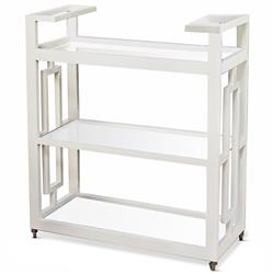 Pierce Modern Classic White Lacquer Glass 3 Tier Serving Bar Cart