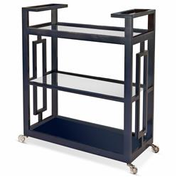 Pierce Modern Classic Ink Blue Lacquer Glass 3 Tier Serving Bar Cart