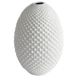 Salvo Coastal Beach Diamond Cut Modern White Bud Egg Vase