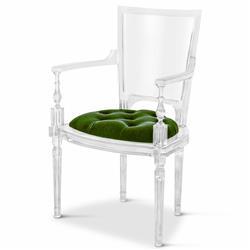Henderson Hollywood Regency Italian Acrylic Green Mohair Dining Armchair