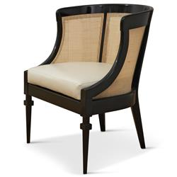 Heaton Hollywood Regency Black Wood Cane Leather Side Chair