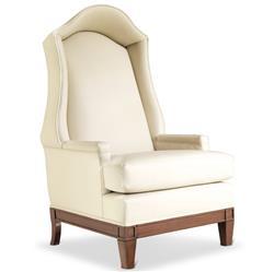 Shannon Hollywood Regency Ivory Leather Wood Canopy Armchair
