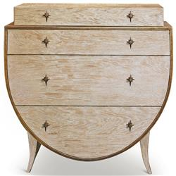 Atticus Coastal Beach Brass Stars White Oak 3 Drawer Semioval Dresser