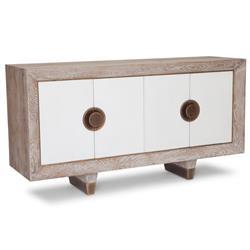 Mystic Modern Coastal Beach Brass White Oak Media Cabinet