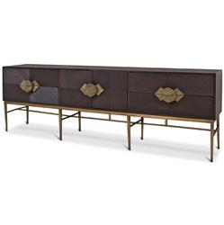 Darwin Global Bazaar Dark Wood Brass Storage Media Cabinet