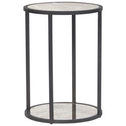 Frankie Industrial Loft Blackened Iron Round Side End Table