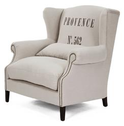 Napoleon Linen Brass Nail head Half Wingback Accent Chair