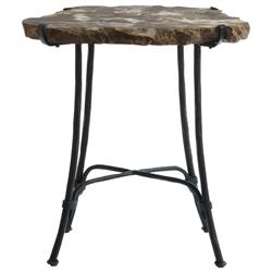 Inez Industrial Loft Petrified Wood Forged Iron Side End Table
