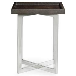 Maxwell Modern Classic Faux Shagreen Steel Square End Table