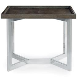 Maxwell Modern Classic Faux Shagreen Steel Rectangular End Table