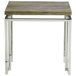 Rei Industrial Loft Grey Teak Wood Railroad Tie Side End Table