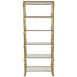 Jessica Hollywood Regency Gold Painted Steel and Glass Etagere