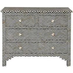 Rudy Global Bazaar Black White Herringbone Bone 4 Drawer Dresser
