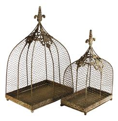 Rustic Wire Decorative Bird Cages - Set of 2 | Kathy Kuo Home
