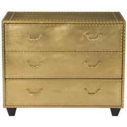 Emil Hollywood Regency Patina Brass 3 Drawer Dresser