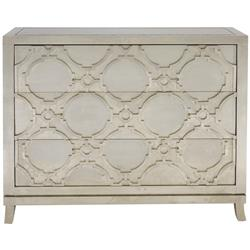 Bennett Hollywood Regency Silver Nickel Wood 3 Drawer Dresser